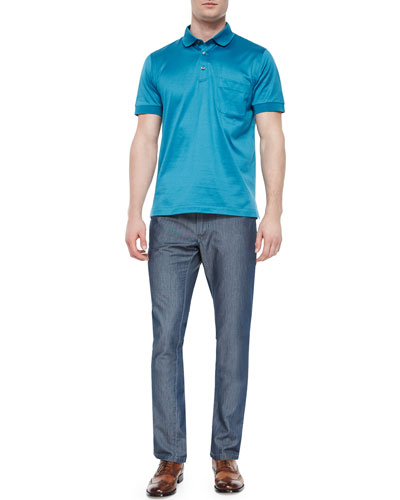 Polo Shirt with Silk Trim & Five-Pocket Silk-Cotton Denim Pants