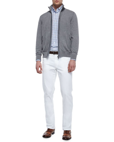 Full-Zip Wool Cardigan with Suede Trim, Check Long-Sleeve Sport Shirt & Poplin Five-Pocket Stretch Pants