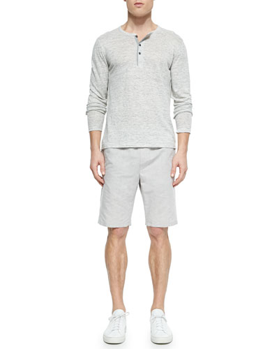 Long-Sleeve Linen Slub Henley & Men's Linen Drawstring Shorts