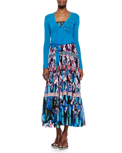 Long-Sleeve Tulle Wrap Top & Printed Tiered Full-Skirt Dress