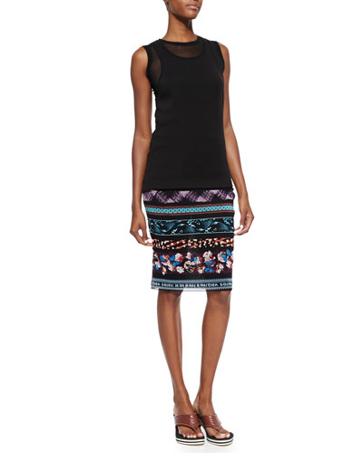 Sheer Double-Layered Tank Top & Printed Striped Tube Skirt