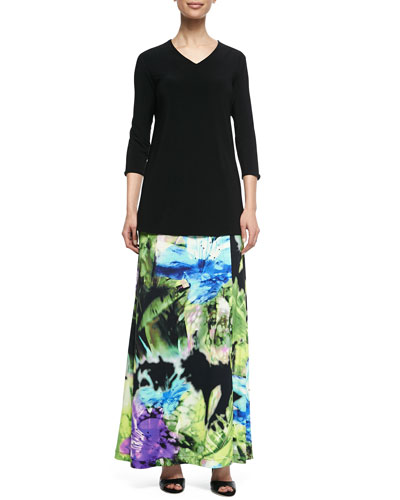 V-Neck 3/4-Sleeve Knit Top & Island Flower Maxi Skirt