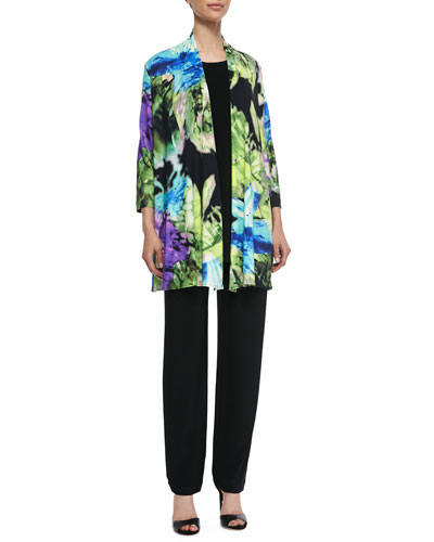 Island Flower Long Cardigan, Knit Tunic/Tank & Stretch-Knit Slim Pants, Petite