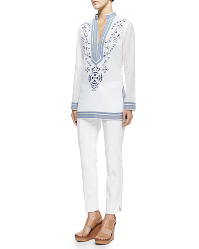 Tory Burch Tory Embroidered Tunic W/ Ribbon Trim