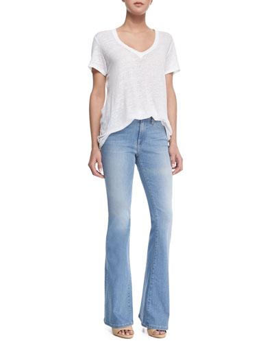 Le Boyfriend Linen V-Neck T-Shirt & Le High Flare Denim Jeans