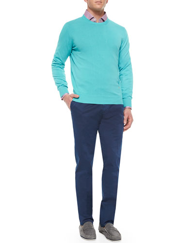 Cotton Crewneck Sweater, Solid Riva Woven Shirt & Slim-Fit Cotton Pants