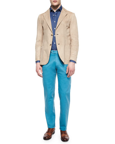 Washed Suede Elbow-Patch Blazer, Denim Long-Sleeve Shirt & Slim-Fit Cotton Pants