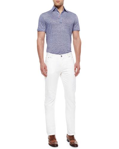 Fine-Striped Woven Polo Shirt & Five-Pocket Slim-Fit Denim Jeans