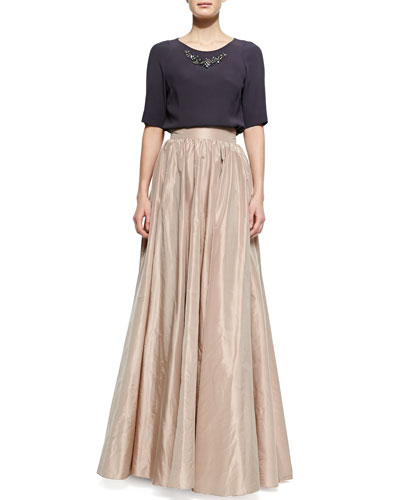 Half-Sleeve Bead-Neck Top & Full Wide-Waist Ball Skirt