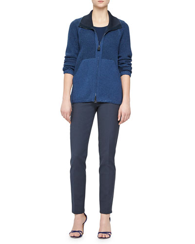 Cashmere-Blend Bicolor Chain-Knit Zip Cardigan, Jewel-Neck Double-Layered Top & Magda Slim-Fit Silk-Blend Pants