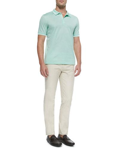 Woven Knit Polo Shirt & Cotton Gabardine Pants