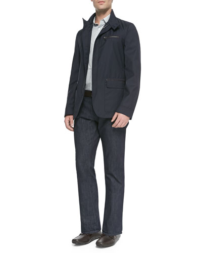 Virgin Wool Jacket with Zip-Out Vest, Small-Gancini Printed Shirt & Dark-Wash 5-Pocket Jeans