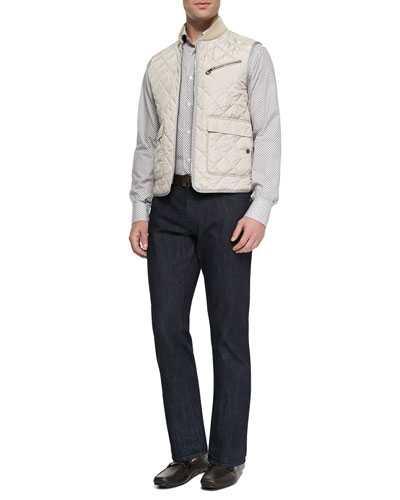 Diamond-Quilted Vest, Small-Gancini Printed Shirt & Dark-Wash 5-Pocket Jeans