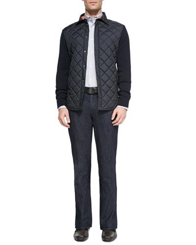 Dark-Washh 5-Pocket Jeans, Striped Knit Long-Sleeve Shirt & Quilted-Front Jacket with Knit Sleeves