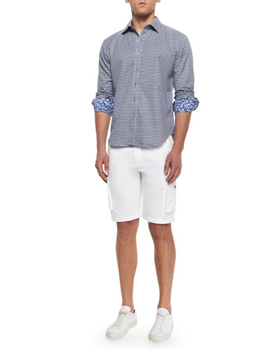 Globetrotter Cargo Shorts & Motorboat Long-Sleeve Check Sport Shirt