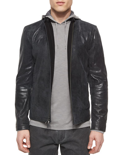 Leather Moto Racer Jacket & Space-Dyed Pullover Hoodie