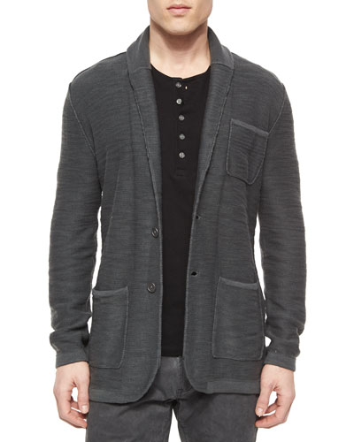 Two-Button Jersey Sweater Jacket & Long-Sleeve Button-Front Henley Shirt