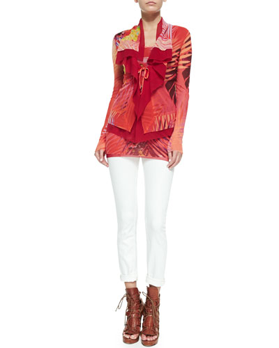 Long-Sleeve Abstract Printed Cardigan & Scoop-Neck Tank