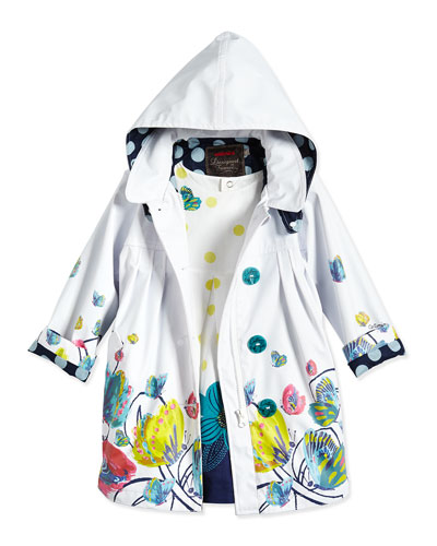 Butterfly-Print Hooded Raincoat & Polka Dot Dress, White/Multicolor