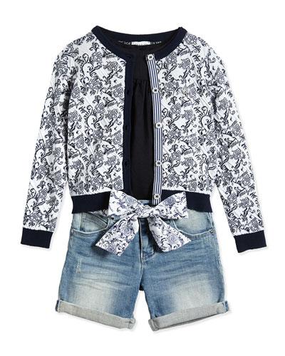 Floral-Print Cardigan, Tunic & Denim Shorts