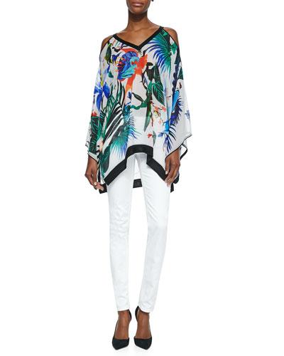 Alize-Print Handkerchief Short Tunic & Skinny Denim Ankle Jeans