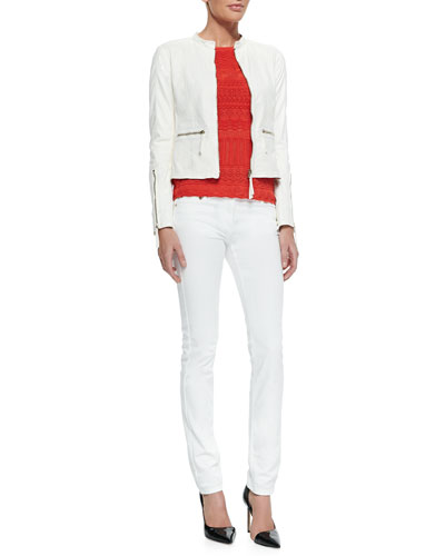 Perforated Leather Band-Collar Jacket, Cutout-Sleeve Zigzag Knit Top & Skinny Denim Ankle Jeans