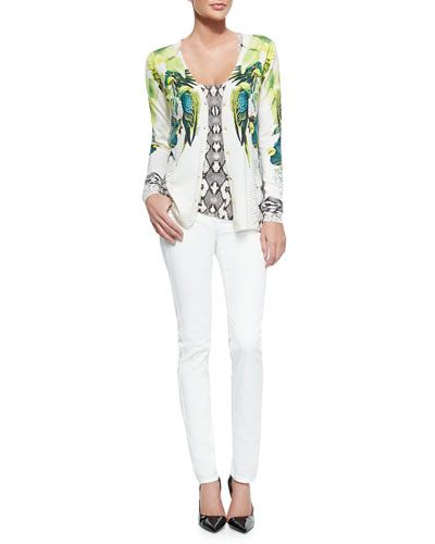 St. Barth Printed Silk/Cotton Cardigan, Tank & Skinny Denim Ankle Jeans
