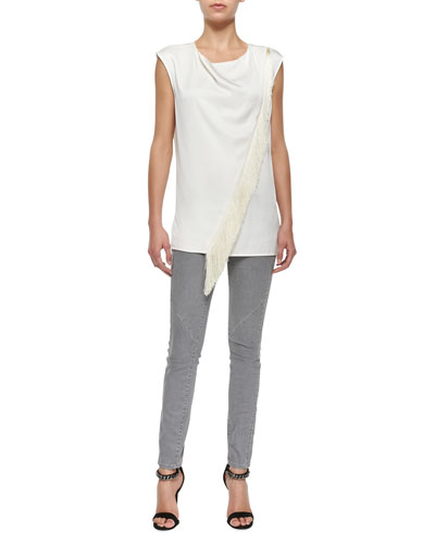 Sleeveless Asymmetric Fringe Blouse & Zip-Pocket Skinny Jeans