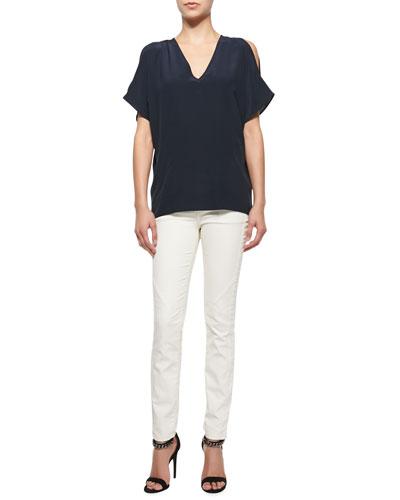 Cold-Shoulder Cocoon Tunic & Zip-Pocket Skinny Jeans