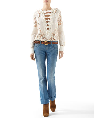 Broderie Anglaise Cotton Muslin Lace-Up Shirt & Washed Denim Skinny Flare Pant