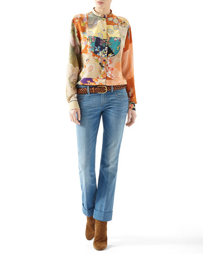 Patchwork Print Crepe De Chine Button-Down Shirt & Washed Denim Skinny Flare Pant
