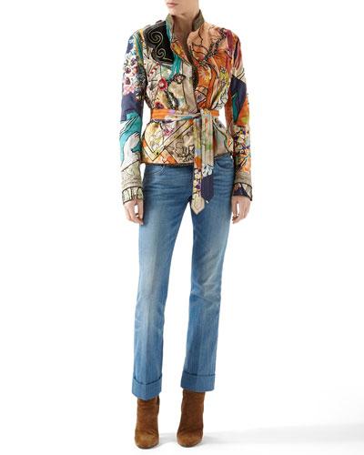 Patchwork Print Silk Habotai Deconstructed Jacket & Washed Denim Skinny Flare Pants
