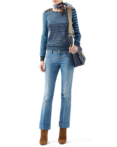 Patchwork Knit Long-Sleeve Top & Washed Denim Skinny Flare Pant
