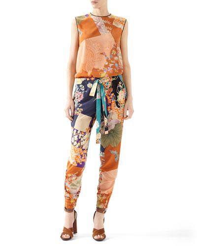 Patchwork Print Silk Piping Top & Patchwork Print Silk Jogging Pant