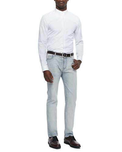 Banded Collar Poplin Dress Shirt & Bleach Wash Denim Jeans
