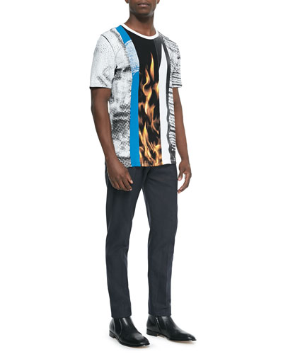 Multi-Print Crewneck Tee & Slim-Fit Woven Trousers