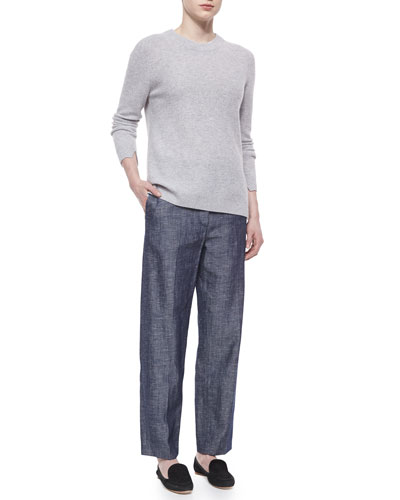 Cashmere Valentina Ribbed Sweater & Claud Straight-Leg Shantung Trousers