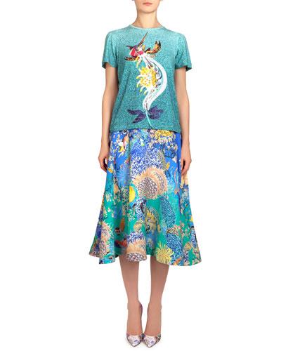 Short-Sleeve Marlin-Print Tee & Remora Ocean Babelona Full Skirt