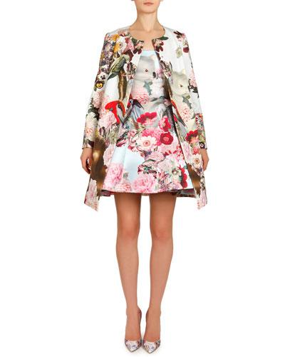 Lobelia Sky Printed A-Line Coat & Tank Dress with Pouf Skirt