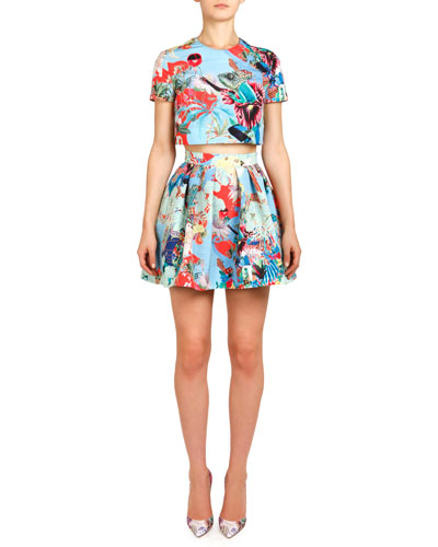Abalone Sky Lynx Printed Top & Pleated Skirt