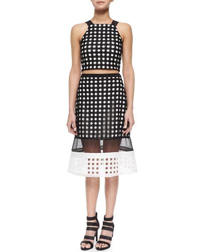 Tarek Circle-Cutout Crop Top & Milan Circle-Cutout Sheer Skirt