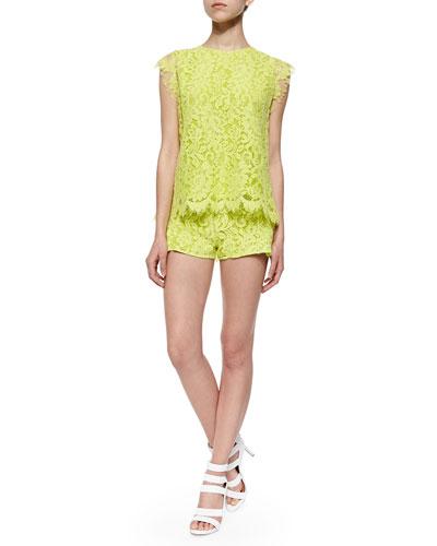 Pascal Open-Back Lace Top & Drake Ruffled Lace Shorts