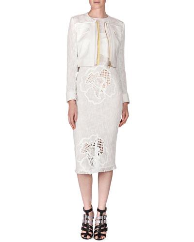 Letton Laser-Cut Flower Jacket & Abersley Laser-Cut Hibiscus Colorblock Dress