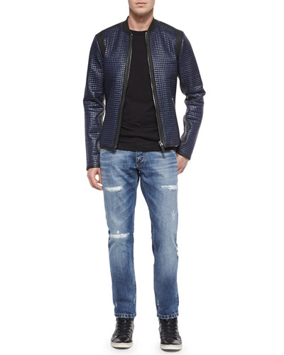 Coated Nylon Quilted Jacket, Jersey Knit Crewneck Tee & Destroyed Washed Denim Jeans