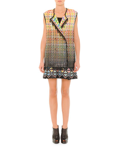 Textured Basketweave Vest with Fringe Trim & Sleeveless Dress with Textured Skirt