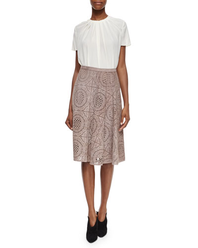 Pleated Short-Sleeve Blouse & Laser-Cut Suede Lace Pattern Skirt