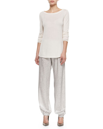 Cashmere Boat-Neck Sweater & Knit Stone-Print Track Pants