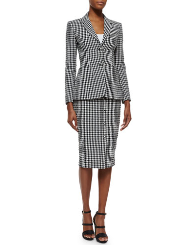 Gingham Seersucker Contrast-Vented Jacket & Gingham Seersucker Button Midi Skirt