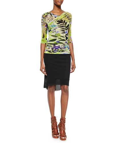Jungle Printed Ruched Top & Fitted Draped-Back Skirt