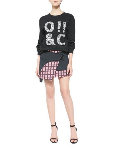 ASCII Jeweled Crewneck Sweatshirt & Marny Knit Utility Miniskirt